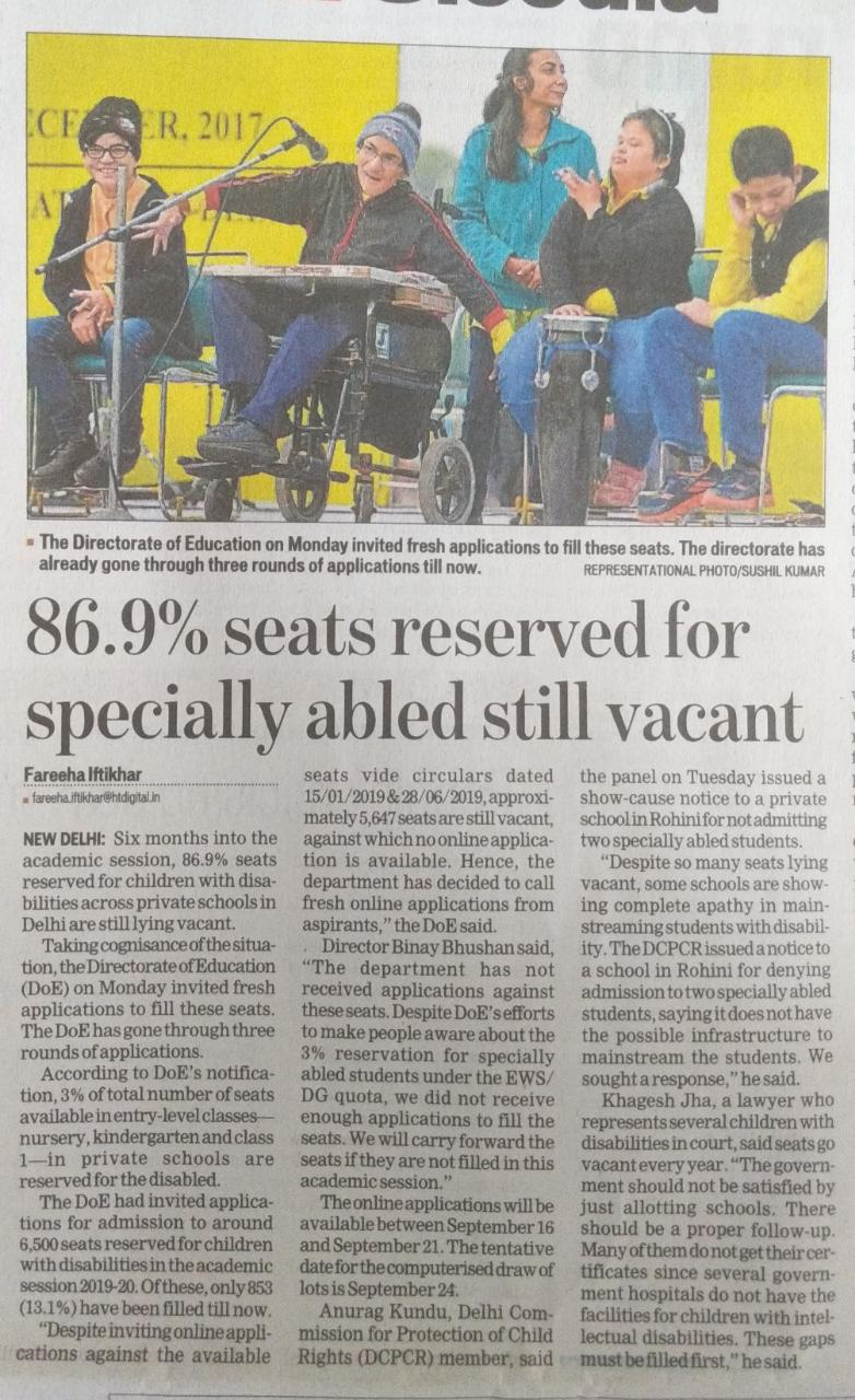 86.9% seats reserved for specially abled still vacant