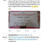 100% visually challenged student Margao in South Geo tops LLB final exams